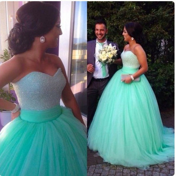 Custom Made Sweetheart Neck Floor Length Ball Gown, Green Prom Dresses, Evening Dresses