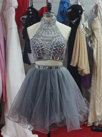Custom Made A Line Two Pieces Short Grey Prom Dresses, Short Homecoming Dresses