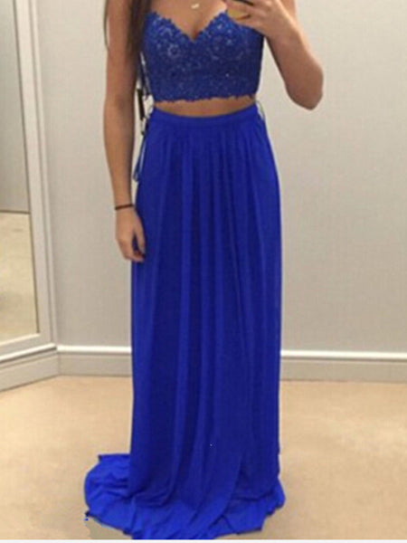 Royal Blue 2 Pieces Prom Dresses, 2 Pieces Royal Blue Bridesmaid Dress, Formal Dresses