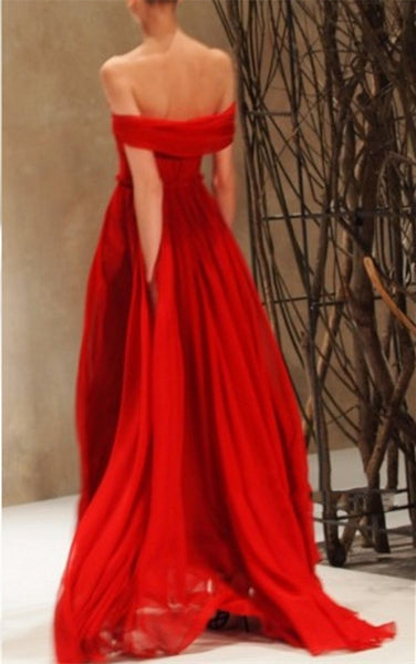 Custom Made Amazing Red Chiffon strapless sweetheart neckline Prom Dress,Evening Dress