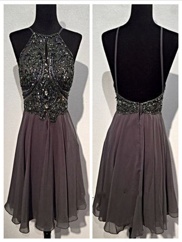 A Line Round Neck Short Grey Backless Prom Dress, Short Grey Backless Formal Dress, Homecoming Dress, Graduation Dress