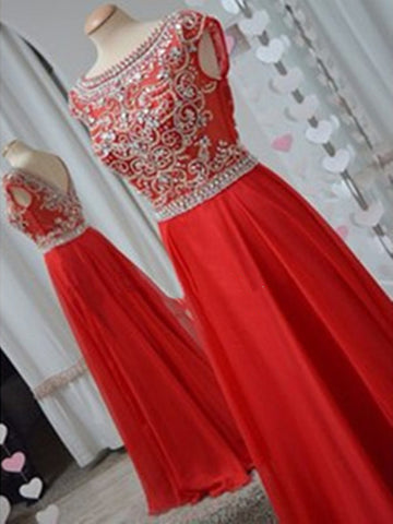 A Line Round Neck Red Long Prom Dresses, Long Evening Dresses, Formal Dresses