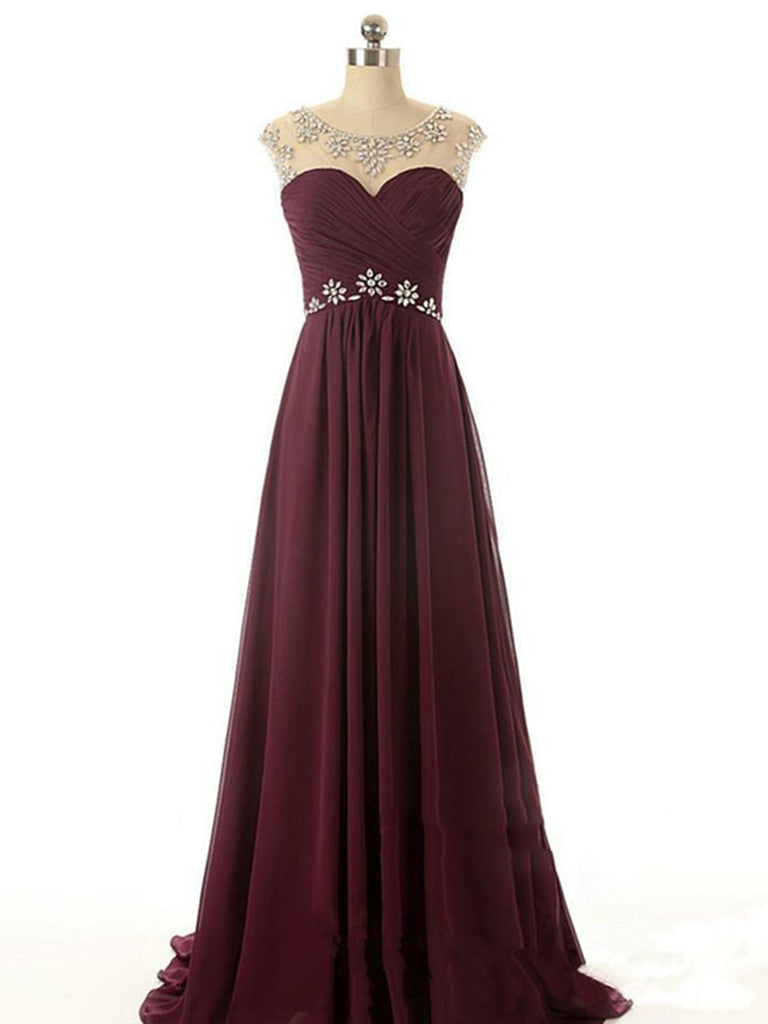 fc8feeef141e A Line Round Neck Maroon Prom Dress