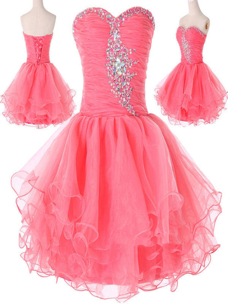 Sweetheart Neck Short Pink Prom Dresses, Short Pink Homecoming Dresses, Pink Formal Dresses