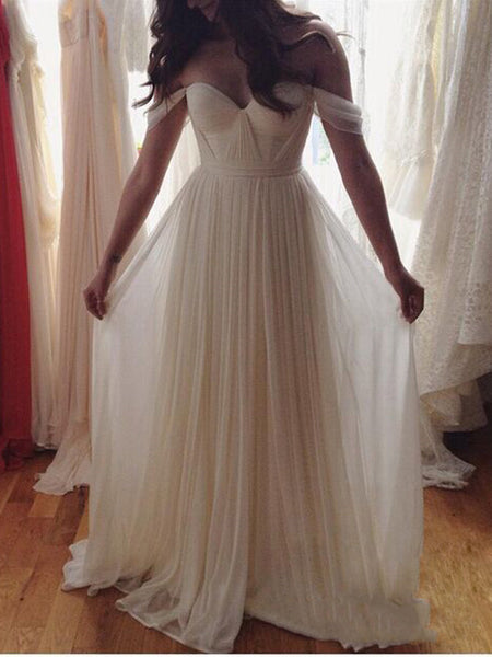 Custom Made White A-line Chiffon Long Prom Dress, Evening Dress