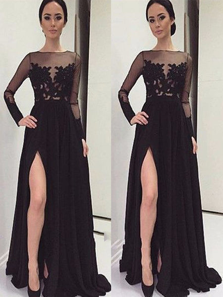 A Line Long Sleeves Black Lace Prom Dresses, Black Lace Formal Dresses