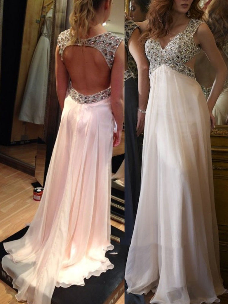 A line Backless Chiffon Prom Dresses,Wedding Dresses
