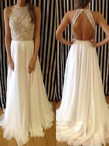 Custom Made Charming Chiffon White Long Lace Prom Dresses,Evening Dresses