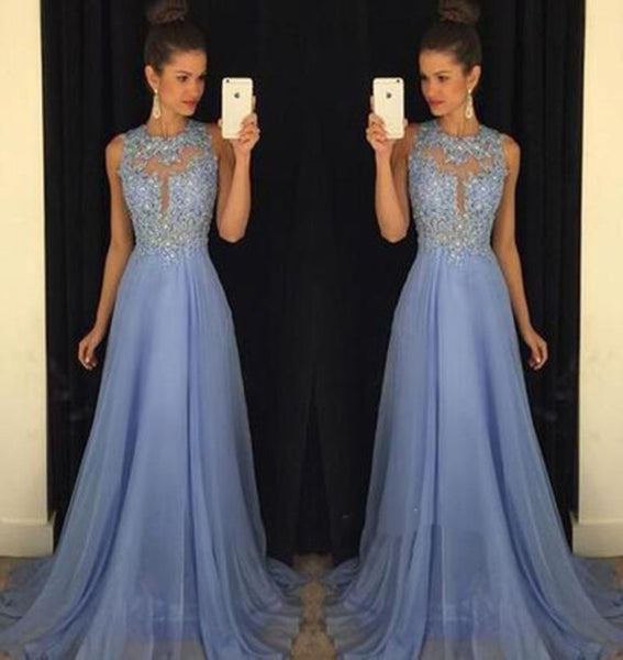 Stylish A-line Round Neck Lace Long Prom Dress, Formal Dress