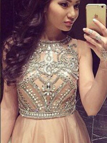 A Line Round Neck Sleeveless Long Prom Dresses, Long Formal Dresses