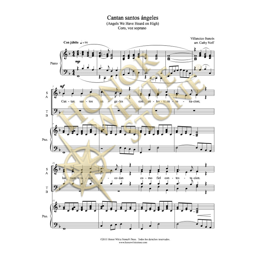Angels We Have Heard on High - SATB (Spanish)