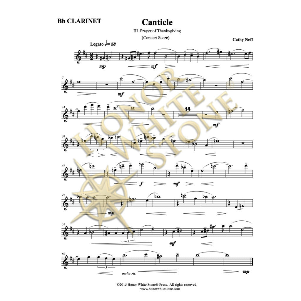 Canticle (3 movements) - clarinet, harp/piano