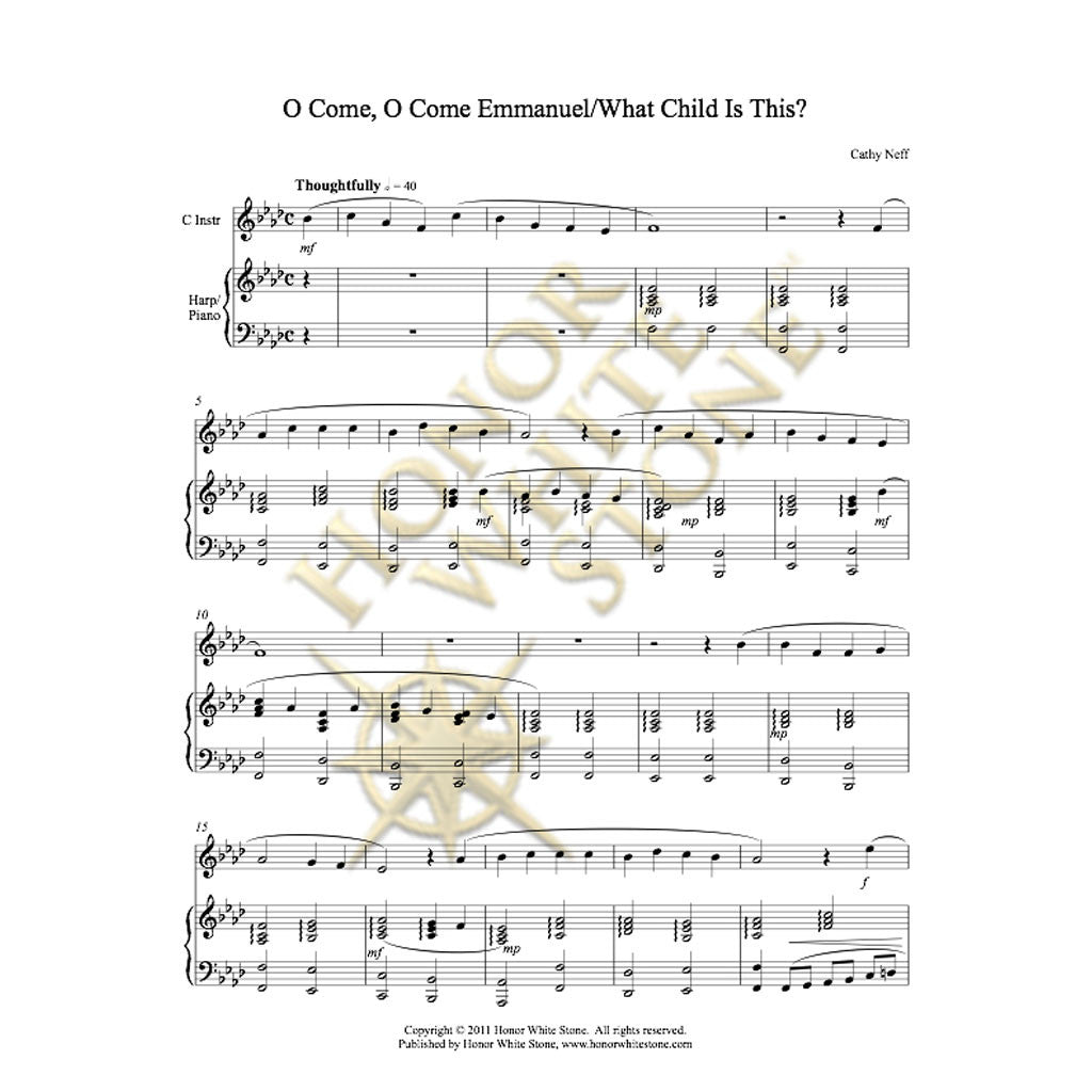 O Come Emmanuel-What Child - C bass inst, harp/piano
