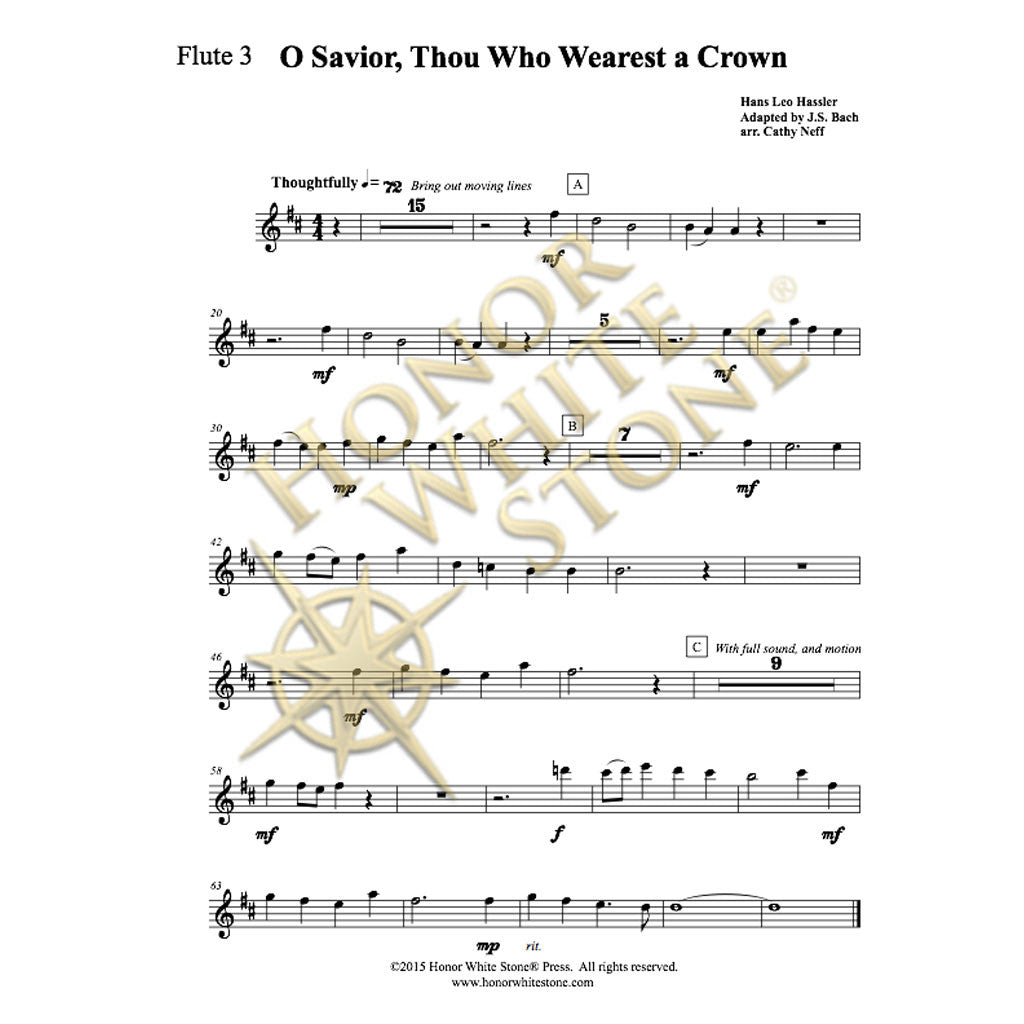 O Savior Thou Who Wearest a Crown - string quartet, flutes