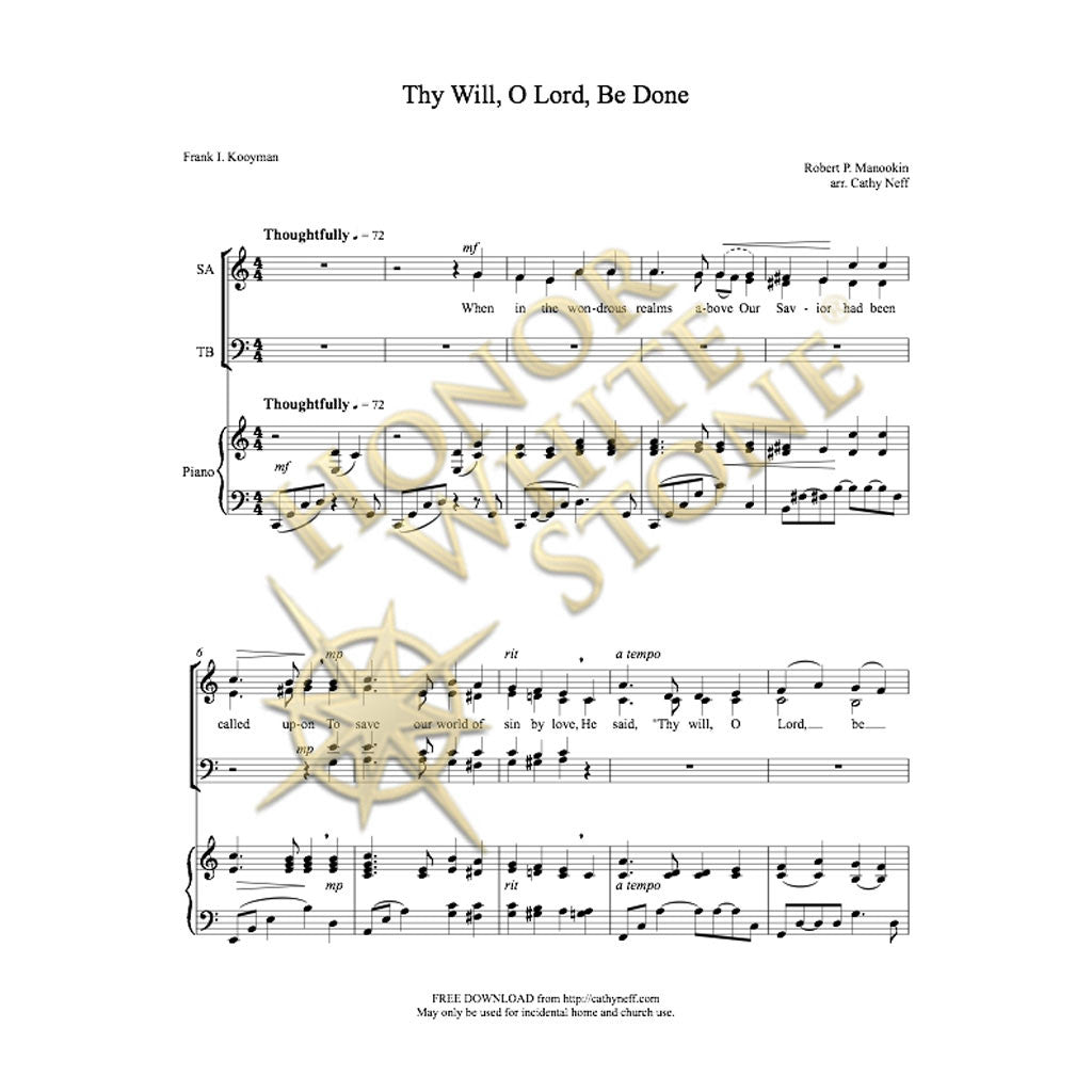 Thy Will, O Lord, Be Done - SATB