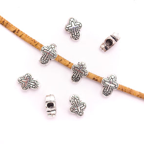 10Pcs for 3mm round leather Antique Silver small cross beads jewelry supplies jewelry finding D-5-3-130
