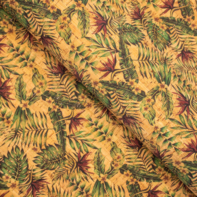 Strelitzia Flower Pattern Cork Fabric COF-245