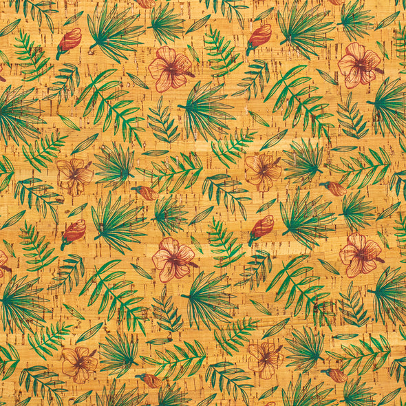 Flower and leafs patterned Cork Fabric COF-237