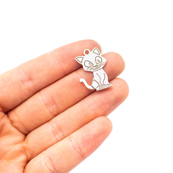 10 units 17x24mm Pendant antique silver Cat jewelry pendant Jewelry Findings & Components D-3-424