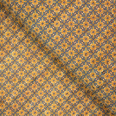 Symmetrical Tile Motif Pattern Cork Fabric COF-243