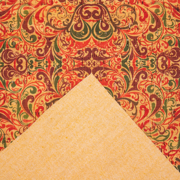 Warm toned classical patterned Cork Fabric COF-230