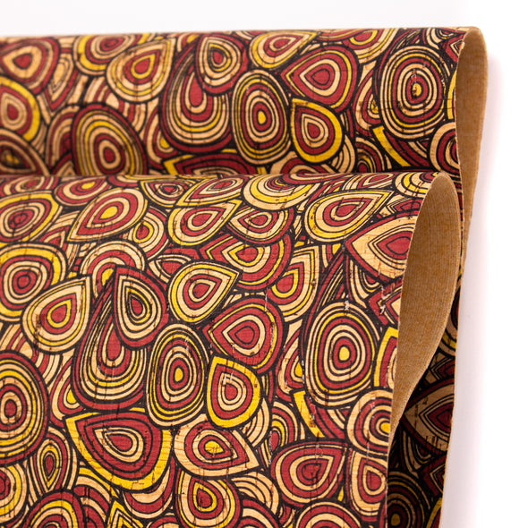 Warmed toned Doodles patterned Cork Fabric COF-232