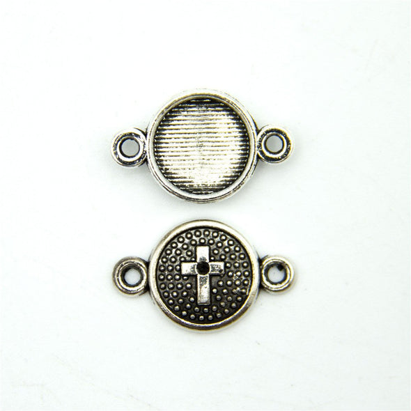 30 units Pendant antique sliver round cross connector charms Pendants Jewelry Findings & Components D-3-338