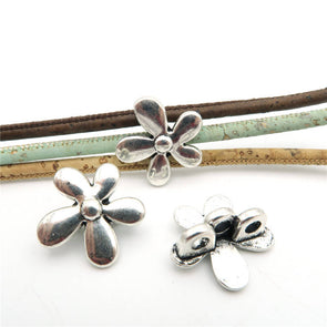 10 Pcs for 3mm round leather Antique Silver Flower Stand jewelry supplies jewelry finding D-5-3-6