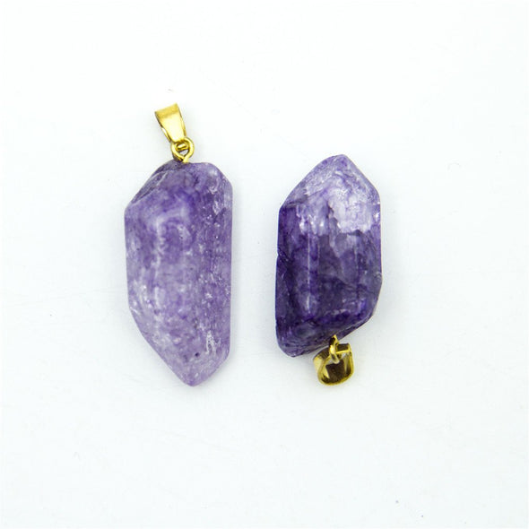 1pcs purple gold polished natural stone crystal irregular shape pendant 42x14mm jewellery jewelry finding D-3-346-N