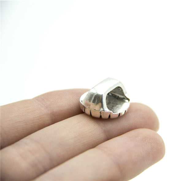 10pcs Slider for 10 mm flat leather cord Antique silver round charm 16x16mm zamak jewellery jewelry finding D-1-10-169