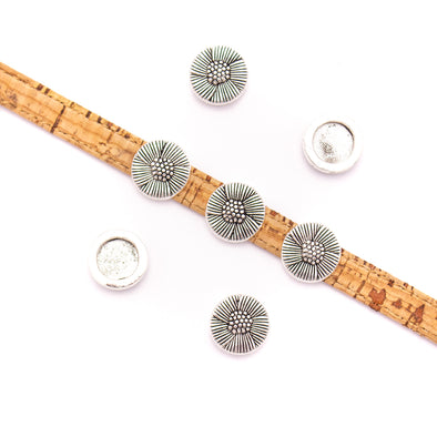10Pcs For 10mm flat leather,Antique Silver Flower bracelet accessories jewelry supplies jewelry finding D-1-10-240