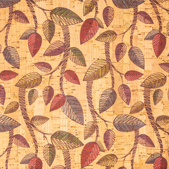 Cork fabric Vine leaves pattern COF-290