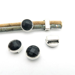 20 pcs For 9mm/3mm leather slider Dark ceramics slider jewelry finding supplies D-1-10-124