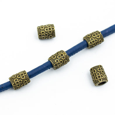 10pcs bronze barrel with flowers zamak slider for 5mm cord D-5-5-87