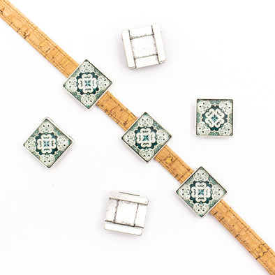 10units For 10mm flat cord slider with Square Portuguese tiles for bracelet finding(22mm*22mm) D-1-10-218