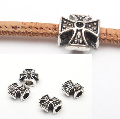 20pcs 3mm round Leather Supplies cross beads Antique Silver Jewelry supply Components D-5-3-38