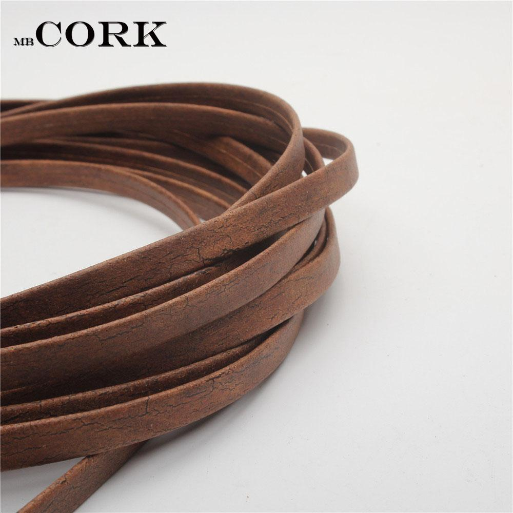 Portuguese Cork 10mm natural cork rustic Carbon burning color cord 10mm leather jewelry finding, craft supply Cor-205