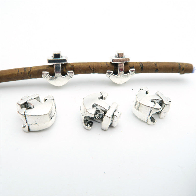 20 Pcs for 5mm round leather Antique Silver Anchor beads jewelry supplies jewelry finding D-5-5-10