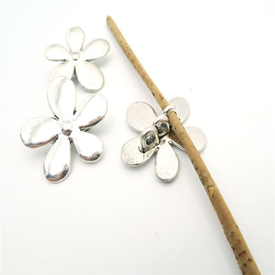 10 Pcs for 3mm round leather Antique Silver Big Flower Stand jewelry supplies jewelry finding D-5-3-7