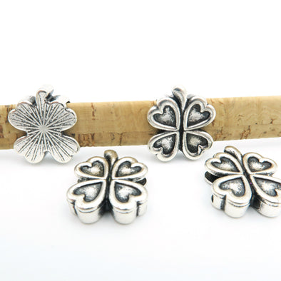 10 Pcs For 10mm flat leather,Antique Silver Clover  jewelry supplies jewelry finding D-1-10-14