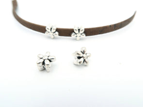 20 Pcs For 5mm flat leather, antique silver flower jewelry supplies jewelry finding D-1-5-3