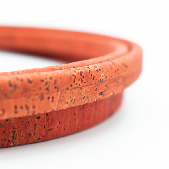 10x5mm orange red color Licorice Cork Cord Leather Portuguese cork COR-348