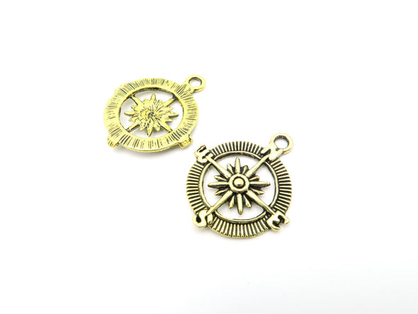 10pcs Antique silver or Gold Compass Pendants  jewelry supplies jewelry finding D-3-21