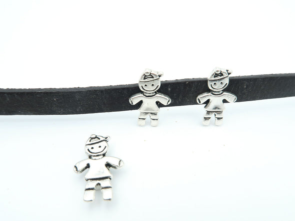 10 Pcs For 10mm flat leather,Antique Silver Boy jewelry supplies jewelry finding D-1-10-6