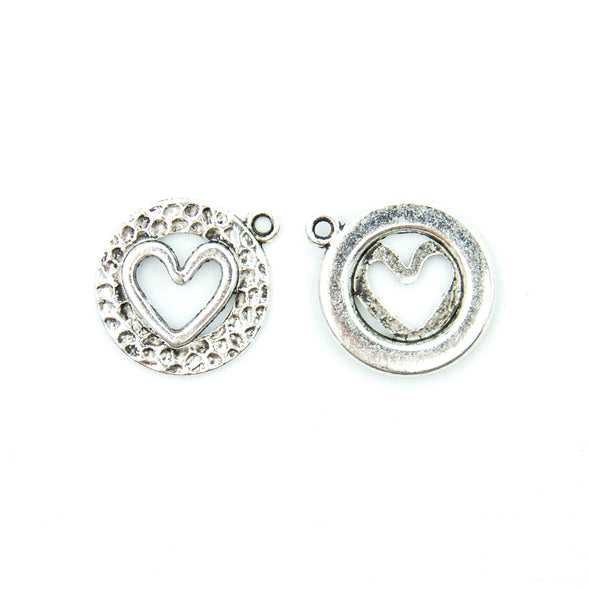 20pcs Side Heart pendant D-3-354