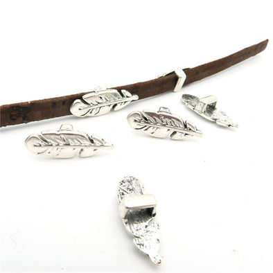 20 Pcs For 5mm flat leather,Antique silver Feather jewelry supplies jewelry finding D-1-5-6