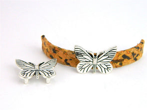 10pcs For 10mm flat leather Antique Silver butterfly jewelry supplies jewelry finding D-1-10-106