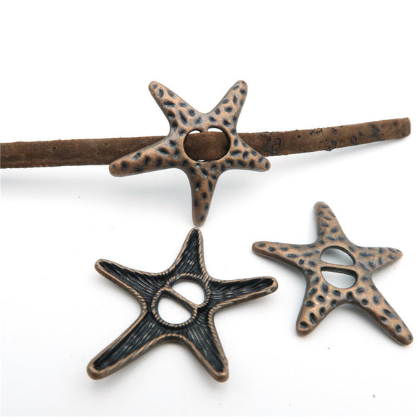 10 Pcs For 5mm flat leather,Antique Dark Bronze Sea Star jewelry supplies jewelry finding D-1-5-8