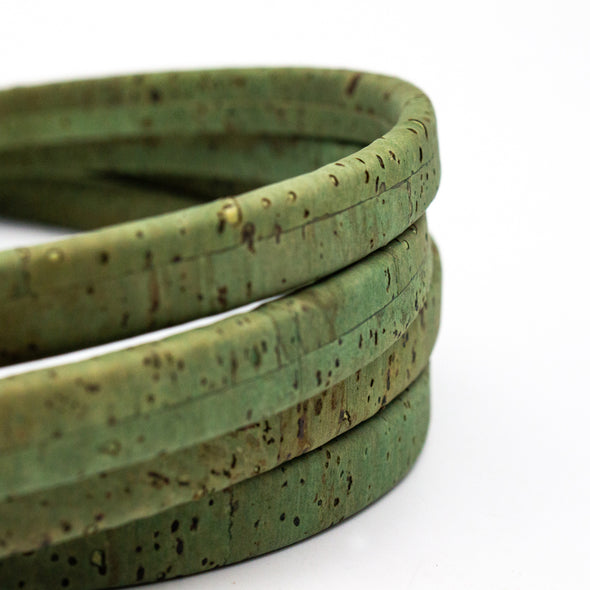 10x5mm green color Licorice Cork Cord Leather Portuguese cork COR-345