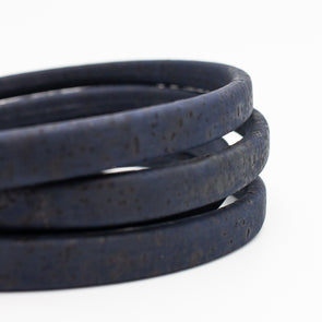 10x5mm Dark Blue Licorice Leather Cork Cord Portuguese cork jewelry supplies /Findings cord vegan COR-324